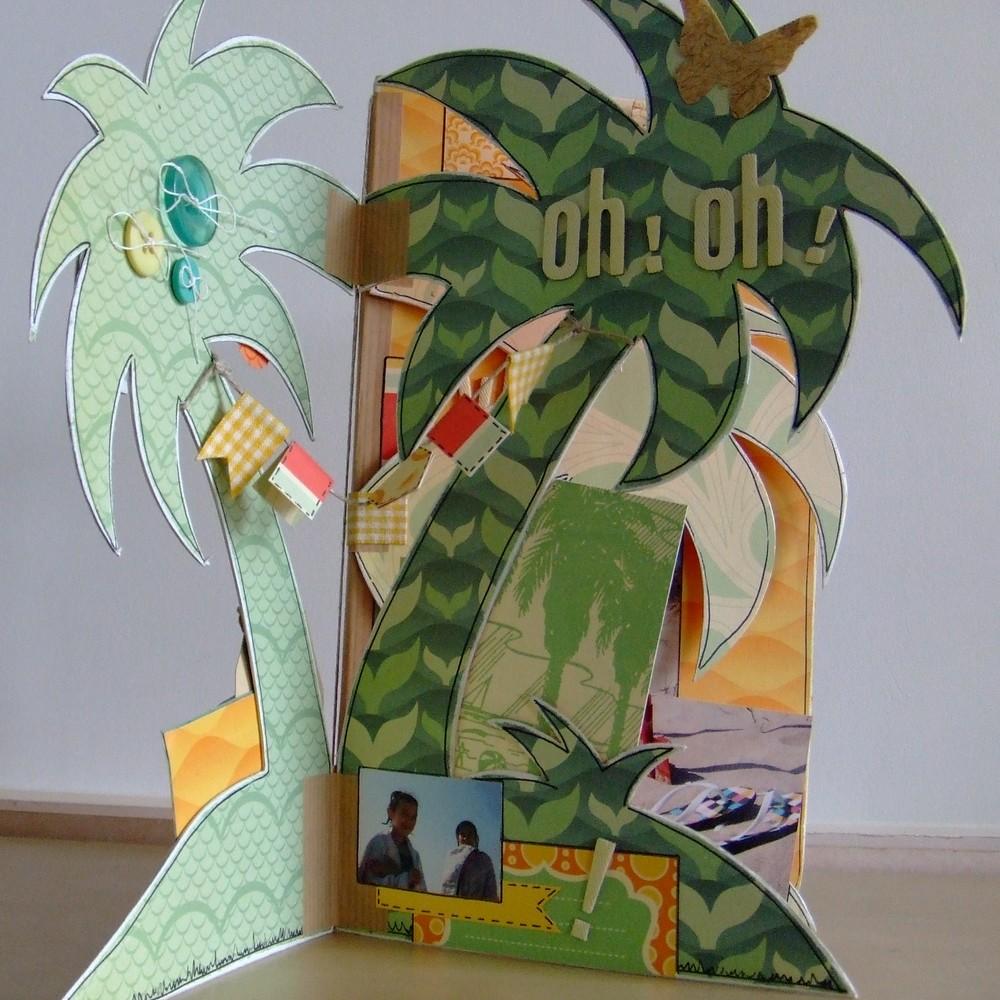 Tutoriel mini-album Vamos a la Playa les-kits-de-couleurs-en-folie scrap scrapbook mini-album scrapbooking album-destructuré mer plage farniente doodling couleurs-en-folie