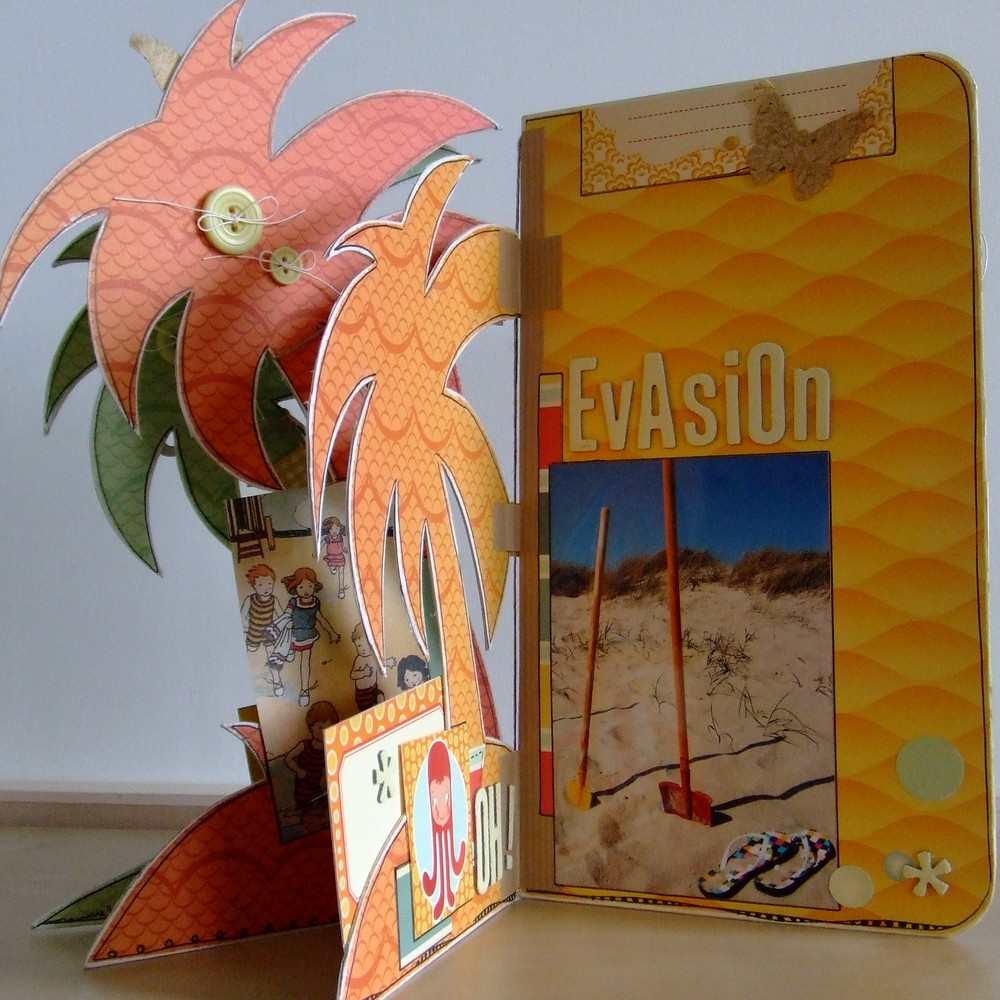 Tutoriel mini-album Vamos a la Playa les-kits-de-couleurs-en-folie scrap scrapbook mini-album scrapbooking album-destructuré mer plage farniente doodling couleurs-en-folie