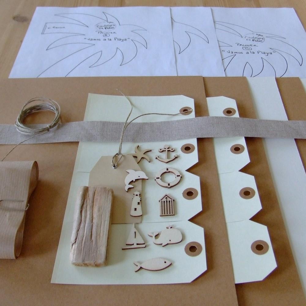 Kit structure Vamos a la Playa mini-album scrap scrapbooking couleurs-en-folie plage mer voyage palmiers album déstructuré