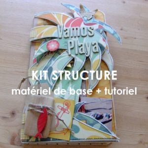 Kit structure Vamos a la Playa mini-album scrap scrapbooking couleurs-en-folie plage mer voyage palmiers album déstructuré