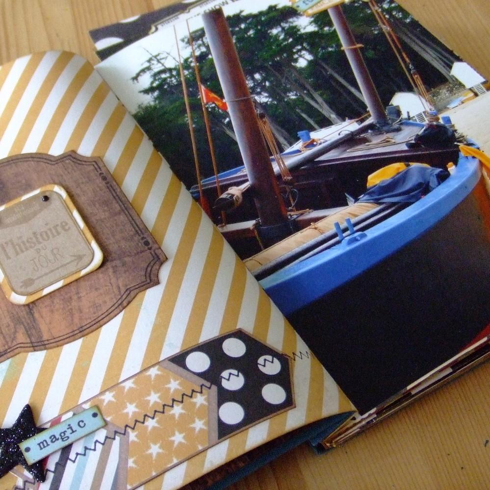 Tutoriel mini-album Hisse et Ho mini-album scrapbooking scrap couleurs-en-folie kit shabby vintage encres perles-de-papier reliure-japonaise