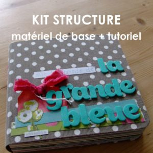 Kit structure La grande bleue mini-album livre album photo mini-albums kits Couleurs en Folie scrap scrapbooking tuto tutoriel