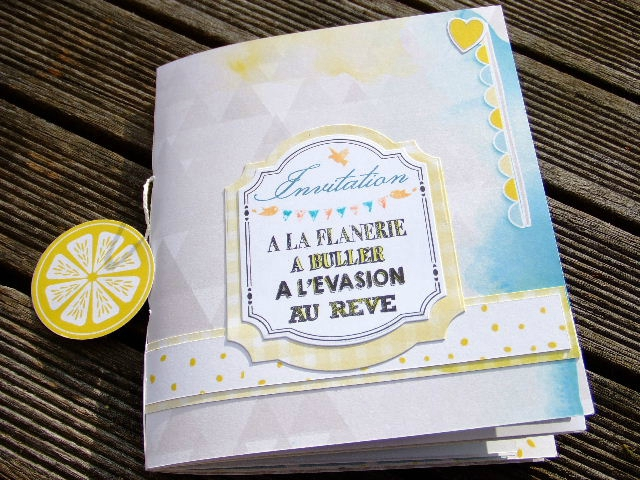 Atelier Scrap Plaisir Invitation à la flânerie mini-album couleurs-en-folie catalogue-scrap-plaisir collection lemon scrapbooking vente démonstration à domicile