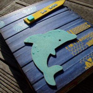 Tutoriel mini-album La mer tuto scrap scrapbooking couleurs-en-folie phare palmier bateaux