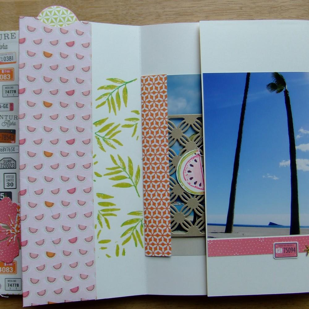 Tutoriel mini-album Là-bas sous les palmiers mini-album scrap scrapbooking les-kits-de-couleurs-en-folie couleurs-en-folie voyage vacances mariage tampons carnets tuto