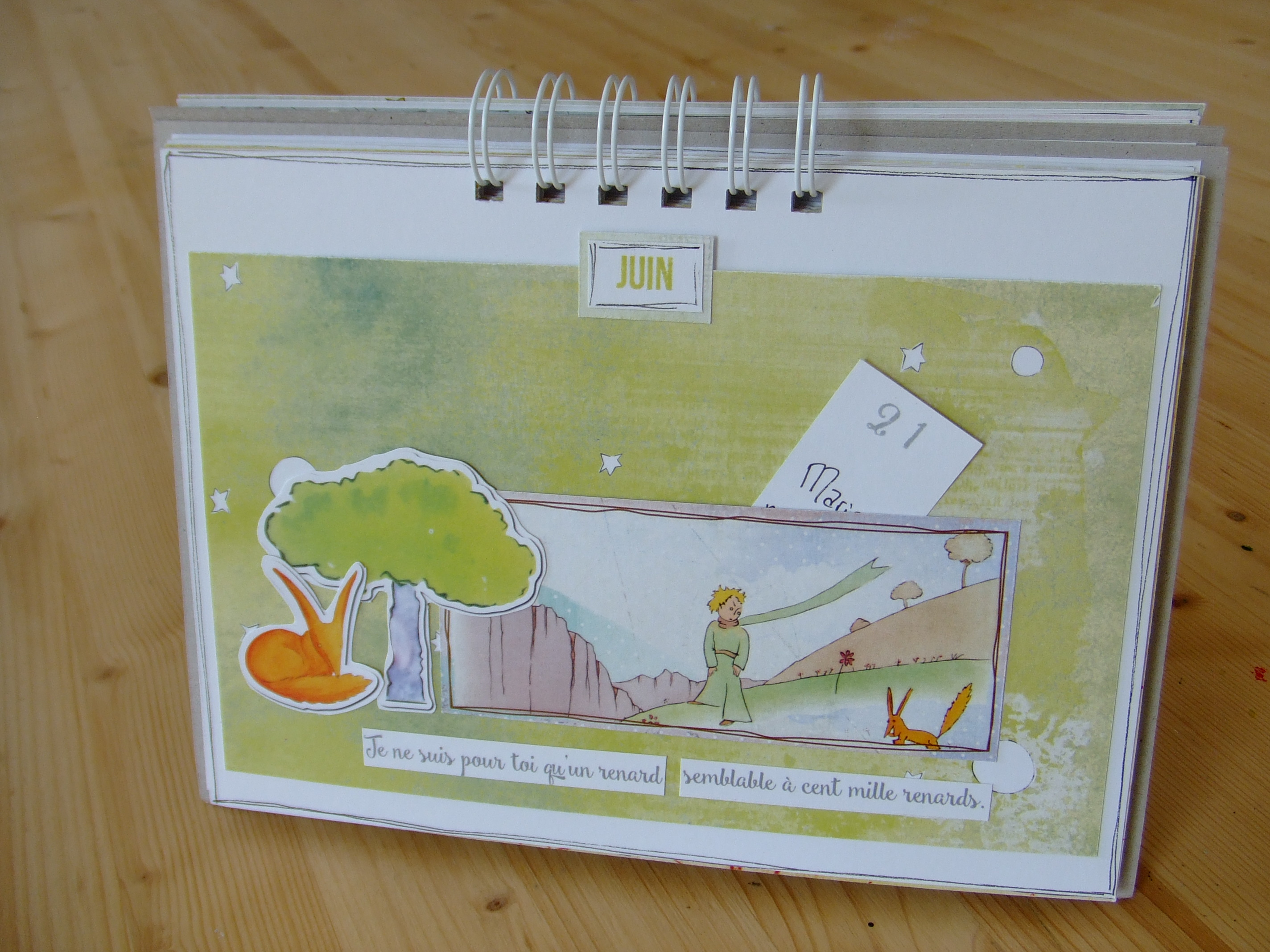 Atelier Scrap Plaisir calendrier perpétuel collection Le petit prince couleurs-en-folie scrap scrapbooking