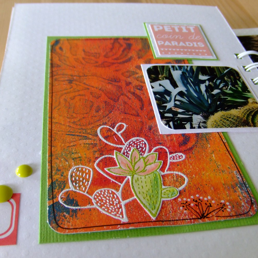 tutoriel mini-album Ô Soleil couleurs-en-folie kits mini-albums scrap scrapbooking atelier stage lille marcq-en-baroeul gelli-plate priplak photos-de-vacances