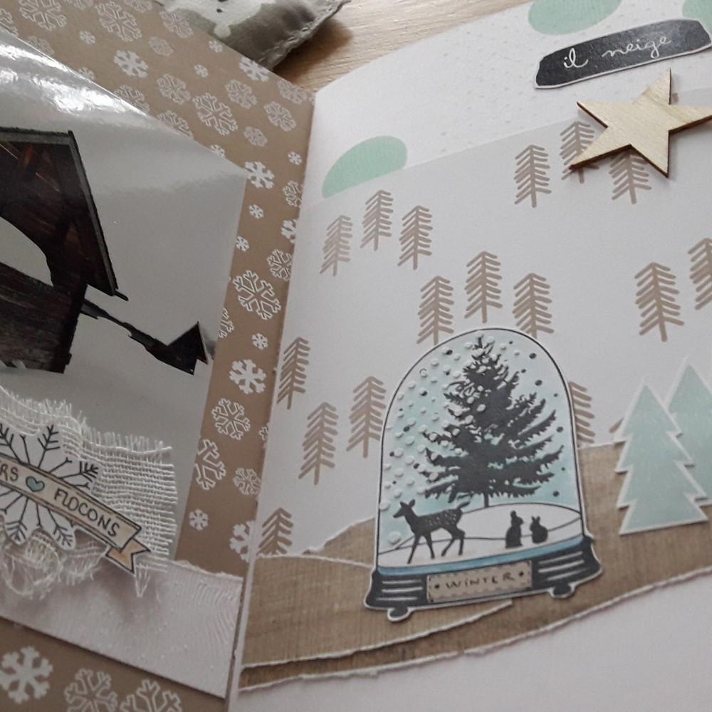 Kit mini-album Blanc comme neige Couleurs-en-Folie kits ateliers scrap scrapbooking stage hiver naissance tampons album-photos lille marcq-en-baroeul
