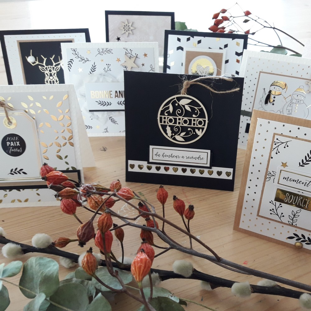 Kit Décor de l'Hiver et carterie kit couleurs-en-folie décor de table cartes de voeux déco décoration hiver home-deco papier doré fêtes