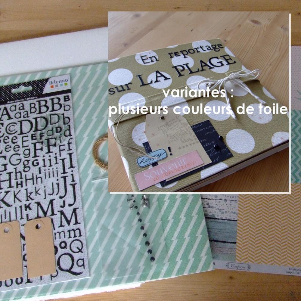 Kit structure En reportage sur la plage - vert menthe à rayures mini-album scrapbooking kit couleurs-en-folie photographie