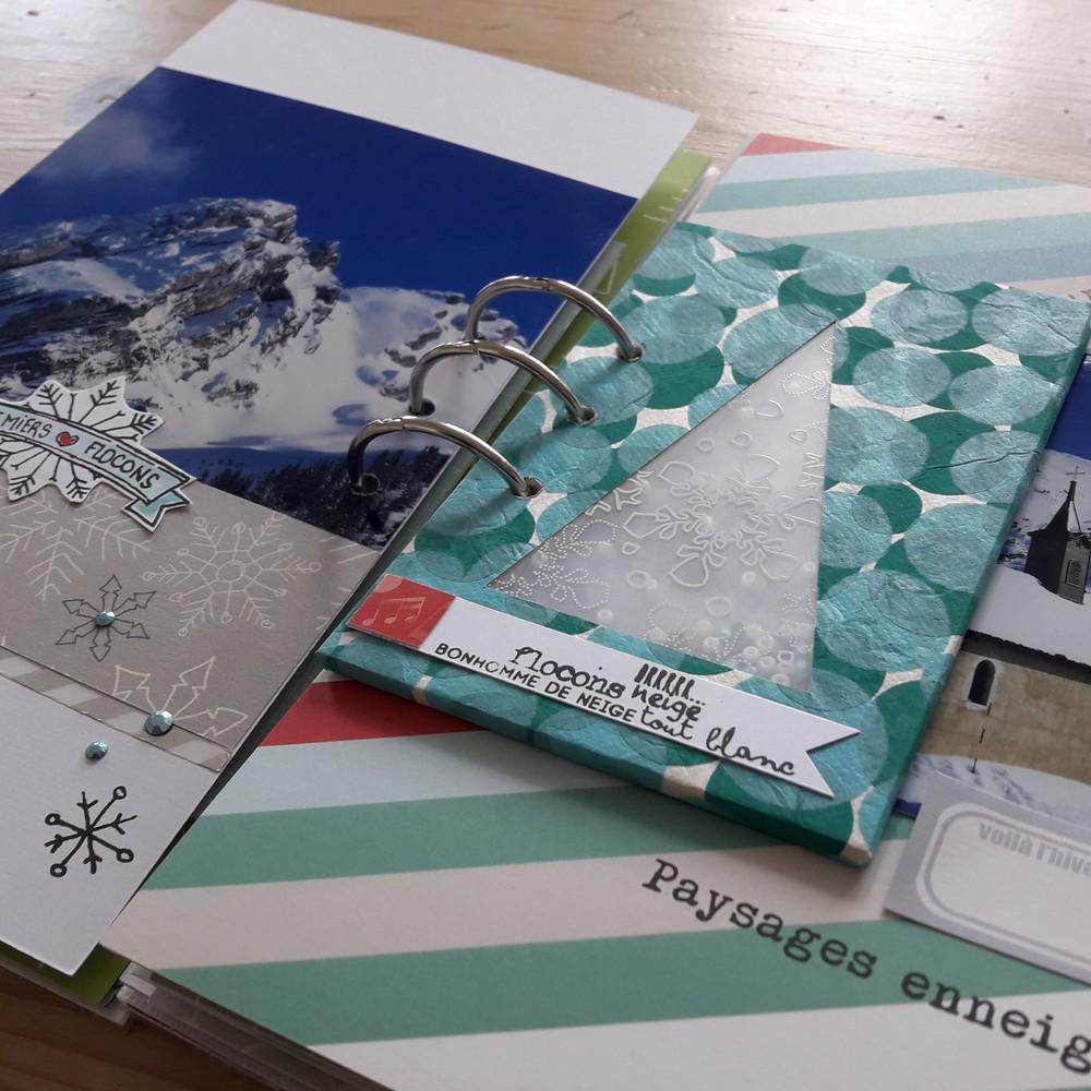 Kit mini-album Sous les Flocons couleurs-en-folie scrap scrapbook scrapbooking mini-album kit diy neige ski hiver facile débutant les-kits-de-couleurs-en-folie
