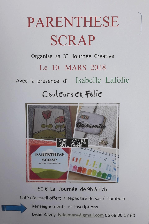3ème Journée Créative à St Rémy sur Saône le 10 mars 2018 crop cropping association Parenthèse Scrap Isabelle Lafolie Couleurs en Folie 10 mars 2018 Saint-Remy-sur-Saône Lydie Ravey scrap scrapbooking