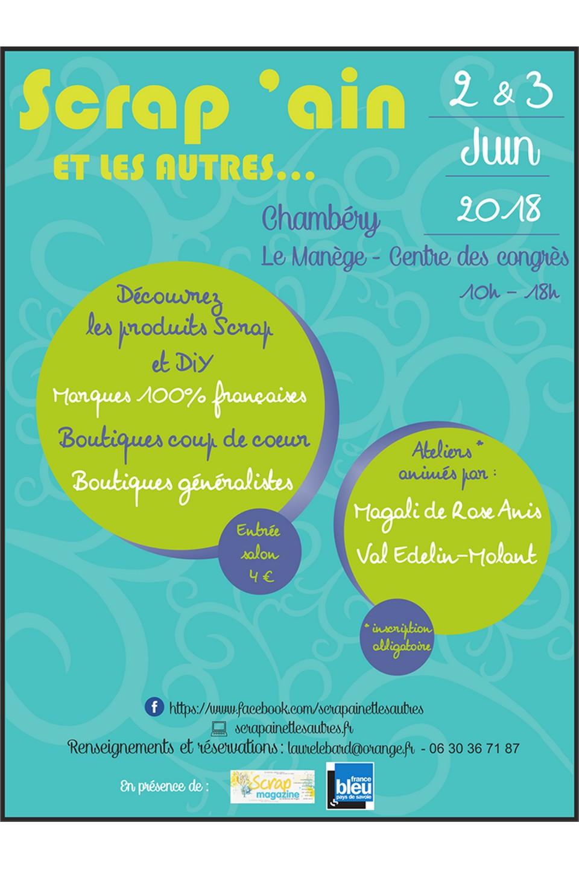 Salon Scrap'Ain 2018 à Chambéry scrap scrapbook scrapbooking salon couleurs-en-folie kits mini-albums 2&3juin2018 Chambéry