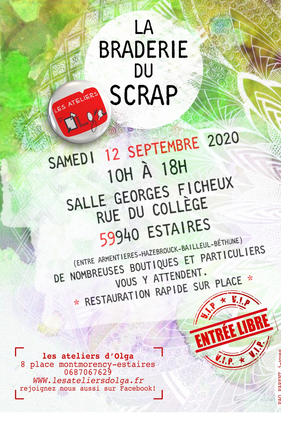 La braderie du Scrap à Estaires salon scrap scrapbooking kit mini-album scrapbook couleursenfolie isabelle lafolie les kits de couleurs en folie