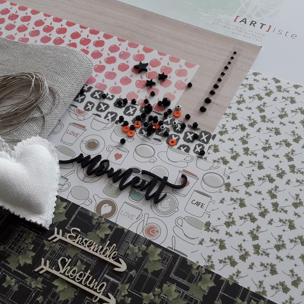 Kit mini-album Cosy Moment couleurs-en-folie scrap scrapbook scrapbooking mini-album kit diy photos souvenirs tampons lin atelier crop limas vigy
