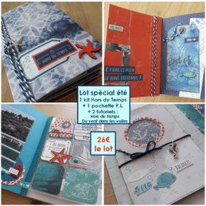 Lot spécial Eté 2019 kit couleurs en folie mini-album scrap scrapbooking mini-book pochette PL mer vacances été brushos distress pop-up couleurs-en-folie