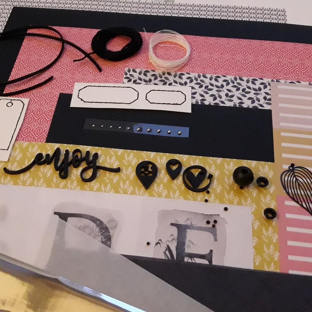 Kit mini-album Enjoy couleurs-en-folie kit scrap scrapbook scrapbooking mini-album photos gel-press gelli-plate tampons encres pastel pan-pastel reliure crop crop-de-ouroux-sur-saône vacances famille photographie isabelle-lafolie atelier