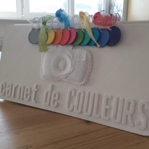 Kit mini-album Carnet de couleurs scrap scrapbooking scrapbook atelier kit mini-album photo photographie couleurs-en-folie isabelle-lafolie stage encres tampons tissage émotion déco anniversaires