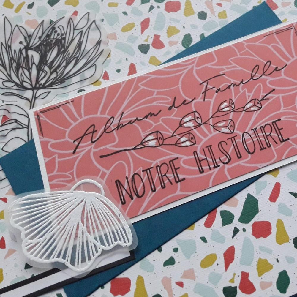 Kit mini-album Douceur tropicale scrap scrapbooking mini-album scrapbook kit couleurs-en-folie isabelle-lafolie tampons pochoirs encres couleurs vacances photos été ateliers crops