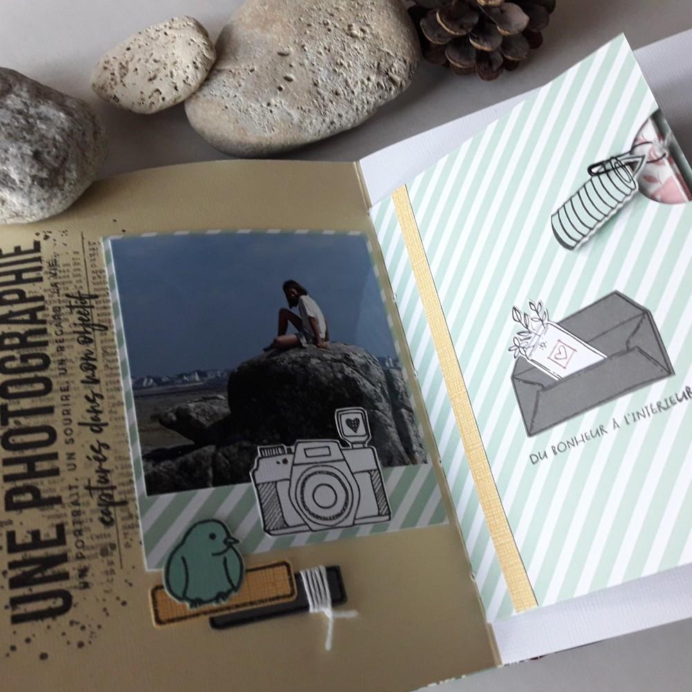 Kit mini-album Collection d'images scrap scrapbooking scrapbook mini-album kit diy couleurs-en-folie isabelle-lafolie tampons stamp-addict famille vacances atelier ateliers album photos photographie