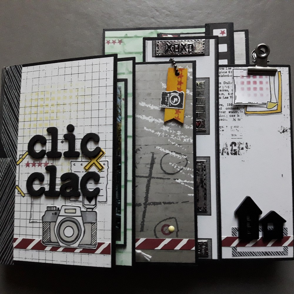 Kit mini-album Clic-clac les-kits-de-couleurs-en-folie scrapbooking scrap scrapbook scrapbookingkit photo album-photo ados adolescents masculin citadin urbain photographie isabelle-lafolie