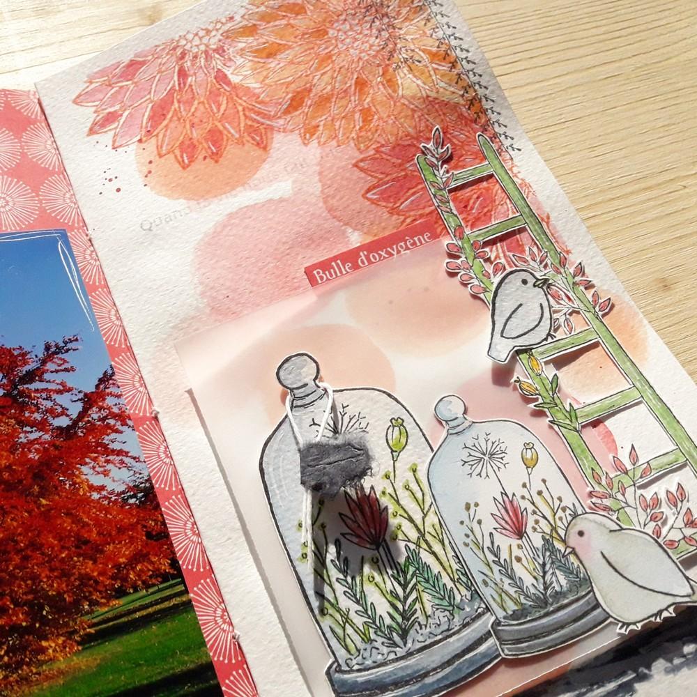 Kit mini-album Aux 4 Saisons Couleurs-en-Folie Isabelle-Lafolie scrapbooking scrapbook minibook minialbum photos saisons printemps été automne hiver aquarelle watercolor tampons stamps créatif