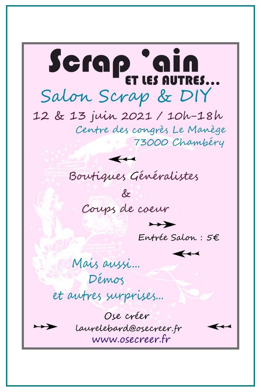 Salon Scrap'Ain et les autres Chambéry 12 et 13 juin 2021 couleurs-en-folie kit scrap scrapbook minialbum