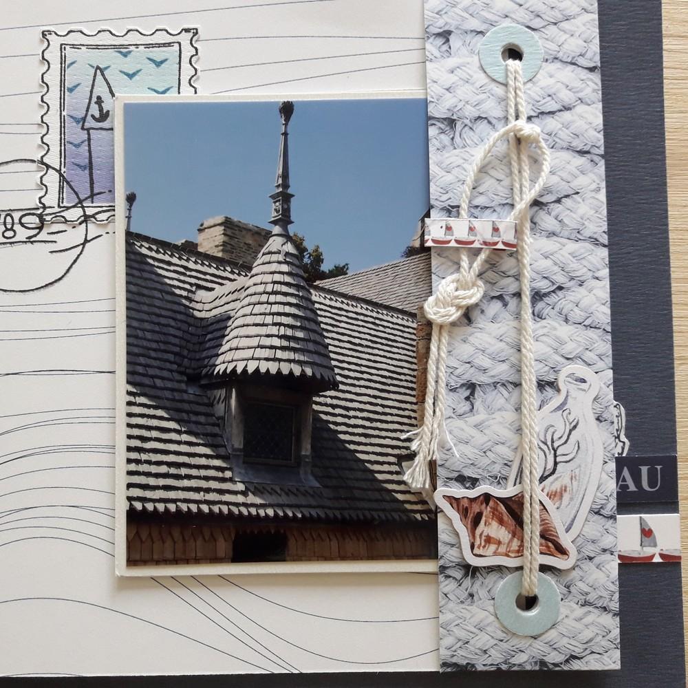 Kit mini-album Moments d'évasion couleurs-en-folie isabelle-lafolie scrapbooking scrapbook mini-album photo mer océan vacances faux-timbres encres tampons
