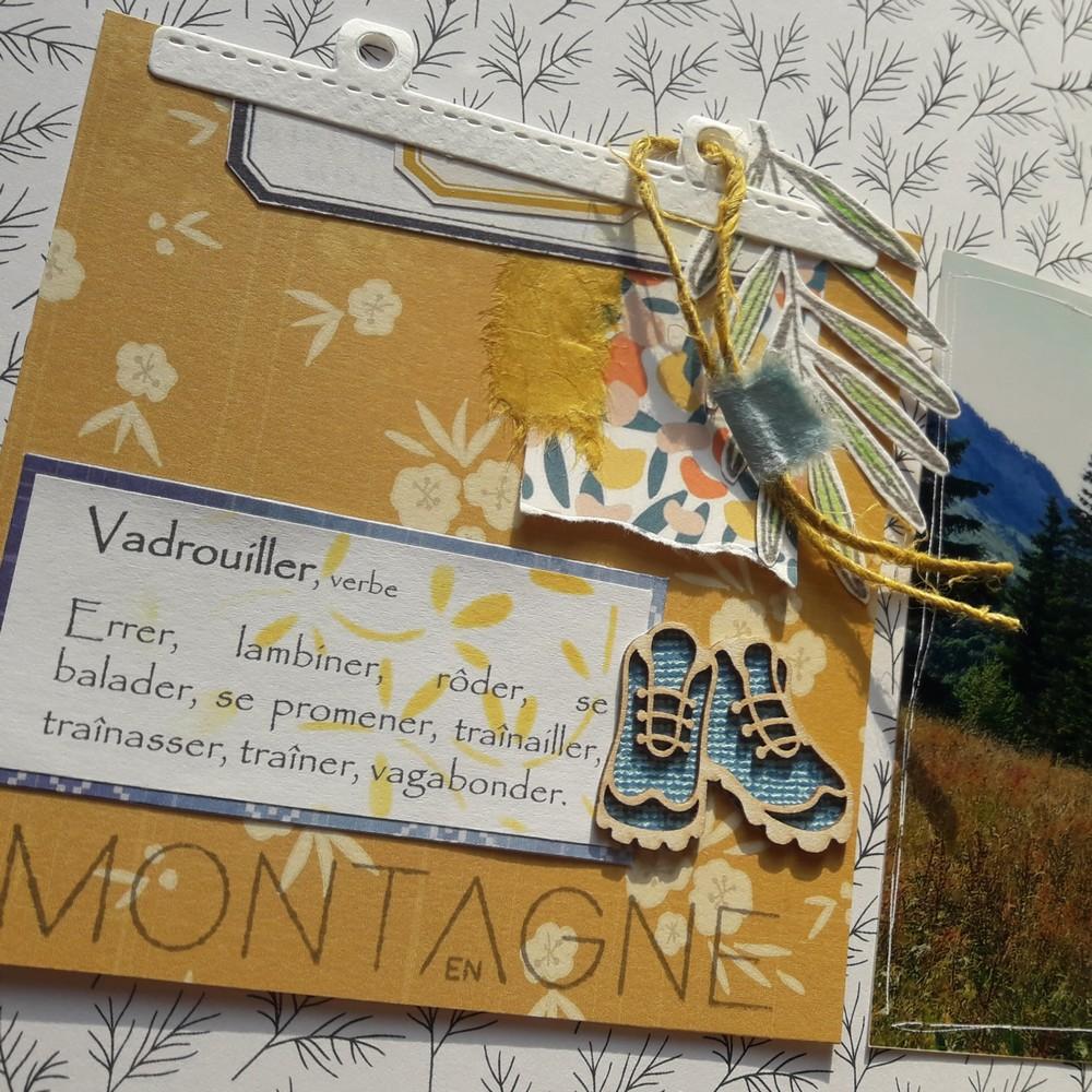 Kit mini-album Crapahuter couleurs-en-folie les-kits-de-couleurs-en-folie scrapbooking scrapbook minibook mini-album photos diy montagne randonnées campagne bois pochoirs isabelle-lafolie